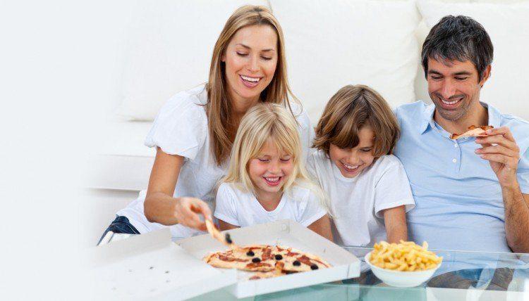 Parents feeding junk food