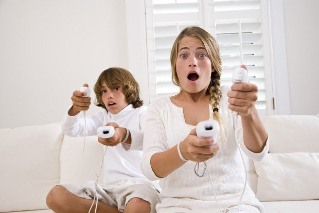 children playing video games