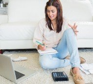 A young woman working from home