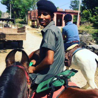 On horse safari in India