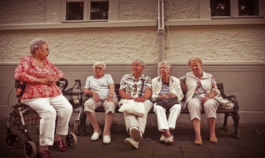 group of elderly woman sitting