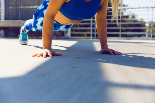 woman in press-up position
